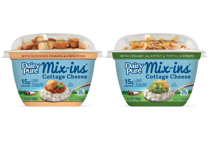 DairyPure Mix-ins from Dean Foods, Dallas, is a low-fat, high-protein cottage cheese product packaged in single-serve containers. The company launched the brand in 2018 with four fruit flavors: blueberry, peach and pecan, pineapple, and strawberry and almond. The brand is growing with two savory varieties — jalapeño and tortilla strips and sundried tomato and croutons — and adding another fruity option: blackberries and granola.