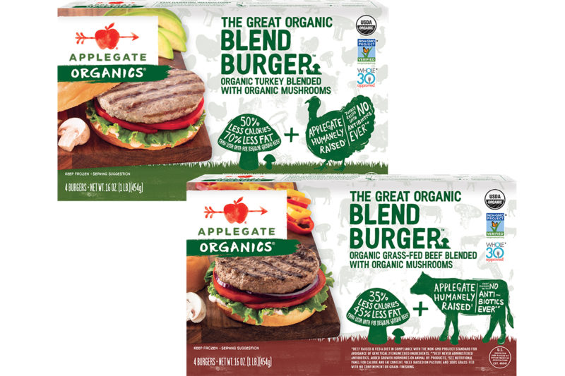 Applegate Farms, L.L.C., a wholly owned subsidiary of Hormel Foods Corp., is launching its first meat- and plant-based innovation. The Great Organic Blend Burger combines organic beef or turkey with mushrooms to offer a healthier, sustainable option for consumers.