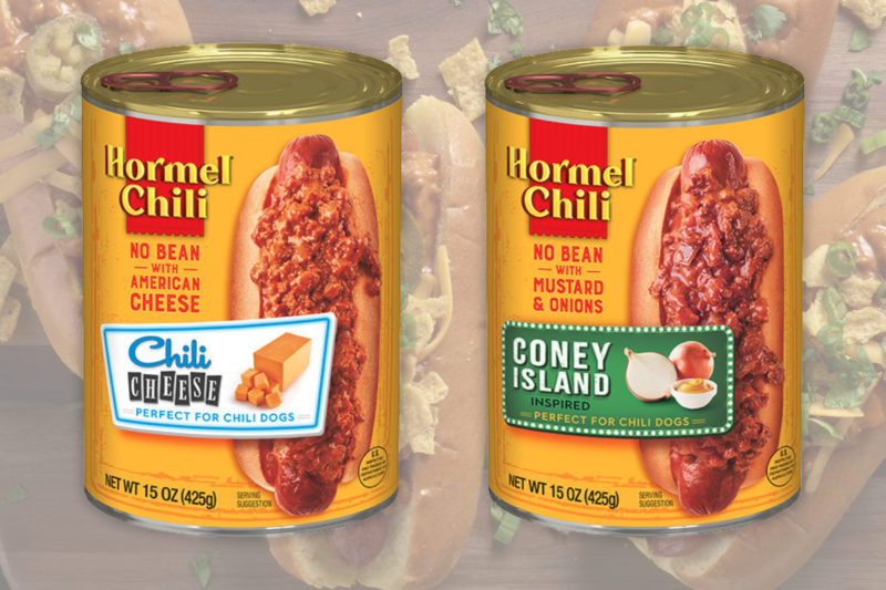 """Hormel Foods is launching two new varieties of chili designed as pour-over toppings for hot dogs.  An extension of the Hormel Chili brand, the new Chili Cheese Chili and Coney Island Chili are formulated to offer a thicker product to ensure it remains on hot dogs more consistently than other no-bean chili, Hormel said. The Chili Cheese Chili is a no-bean chili combined with American cheese, while the Coney Island Chili is a no-bean chili blended with mustard and onions.  """"Consumers love chili dogs,"""" said Sarah Johnson, Hormel Chili brand manager. """"While usage spikes in the summer, we know consumers enjoy chili dogs year-round. Our new pour-over chilis provide consumers a convenient, exciting and great tasting option to upgrade their daily meal routine.""""  Hormel's Chili Cheese Chili and Coney Island Chili products are available in 15-oz cans and are priced between $2.09 and $2.79 at retail food stores across the country."""