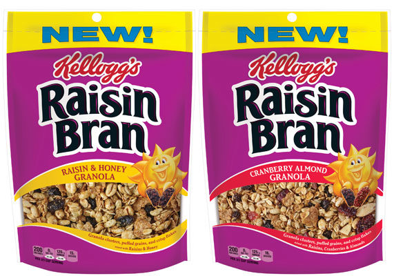 "Kellogg's Raisin Bran cereal is going granola. The iconic brand is launching two varieties of granola that incorporate the familiar taste of Raisin Bran cereal. Raisin Bran Raisin & Honey granola features granola clusters, puffed grains, wheat bran flakes, raisins and honey. Raisin Bran Cranberry Almond granola includes granola clusters, puffed grains, wheat bran flakes, raisins, honey, cranberries and almonds.  ""Kellogg's Raisin Bran granolas provide a variety of flavors and textures that will appeal to both Raisin Bran lovers and traditional granola fans,"" said Cathy Schneck, vice-president of innovation for Kellogg U.S. Morning Foods. ""We've stuck to our tradition of 'two scoops of raisins' and also included a carefully selected mix of other ingredients to provide a unique and delicious breakfast.""  (1 of 11)"