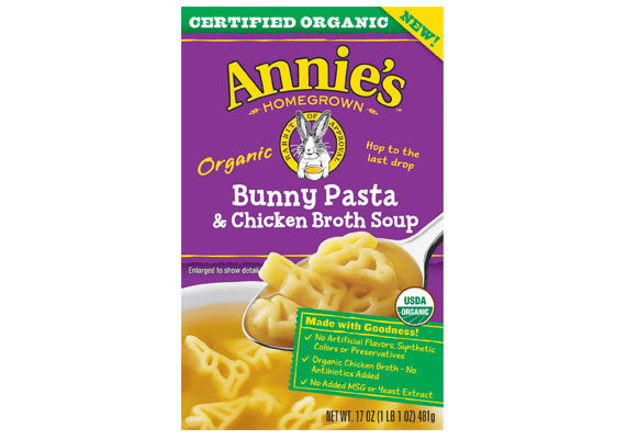 Annie's is pouring its efforts into the soup aisle with five new organic soup offerings: Star Pasta & Chicken, Tomato, Creamy Tomato & Bunny Pasta, Bunny Pasta & Chicken Broth, and Creamy Carrot & Bunny Pasta. These ready-made soups contain no artificial flavors, synthetic colors, preservatives or high-fructose corn syrup.