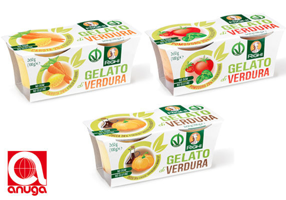 Anuga Taste 15 winners, such as the vegan gelato line from Righi Sri of Italy, are considered best-of-show new product innovations. This frozen dessert comes in two-packs of 50-gram single-serve containers. Varieties are: Carrot and Lemon Sauce, Pumpkin and Balsamic Vinegar Sauce and Tomato and Strawberry Sauce.  (1 of 10)