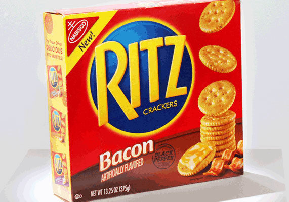 """In March, Mondelēz International introduced Ritz crackers seasoned with the flavors of cracked black pepper and bacon. """"Ritz recognized America's love for the taste of bacon and wanted to help take bacon flavor to places it's never been before,"""" said Katrina Cohen, senior brand manager of Ritz."""