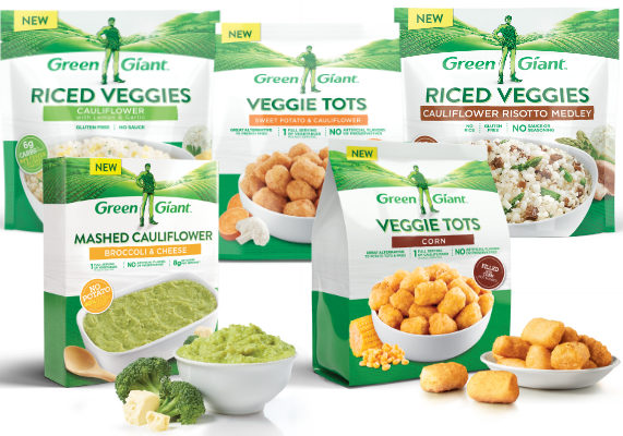 B&G Foods, Inc. is adding five new products to its Green Giant line of Veggie Swap-Ins. Cauliflower Risotto Medley Riced Veggies feature riced asparagus and mushrooms tossed with riced cauliflower. Cauliflower with Lemon & Garlic Riced Veggies is a blend of riced cauliflower with a pinch of parsley, garlic and lemon peel. Cauliflower & Sweet Potato Veggie Tots are alternatives to potato tots that are filled with cauliflower and sweet potato. Corn Veggie Tots are alternatives to potato tots that are filled with corn. Broccoli & Cheese Mashed Cauliflower is made with mashed broccoli and cauliflower with cheese. (1 of 13)