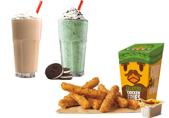 """Burger King is heating up its popular chicken fries with a new flavor: Jalapeño Chicken Fries. Made with white meat chicken, the fries are breaded with a jalapeño seasoning. The chain also is offering two new shakes, the Dr Pepper Shake and the Oreo Irish Mint Shake.  """"Our guests can't get enough of our spicy menu items not to mention our Chicken Fries so we're giving them more of both with this new addition to our Chicken Fries lineup,"""" said Alex Macedo, president, North America, for Burger King. """"And if our Jalapeño Chicken Fries get a little too hot, our Dr Pepper Shake or Oreo Irish Mint Shake is the perfect way to cool off.""""  The new chicken fries flavor and shakes are available for a limited time. (1 of 9)"""