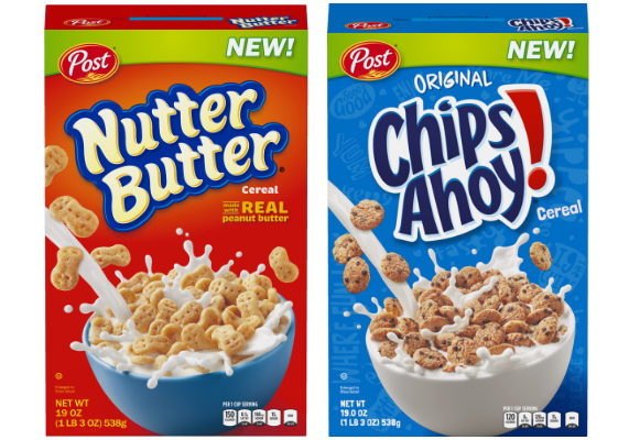 Post Holdings, Inc. is continuing its trend of turning cookies into breakfast cereals with the launch of two new products: Chips Ahoy! Cereal and Nutter Butter Cereal. The two cereals will be available beginning later this month and will be on shelves exclusively at Walmart until April 1, 2018, at a suggested retail price of $3.98 for a 19-oz box. (1 of 17)