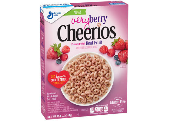 General Mills, Inc. is expanding its Cheerios lineup with new Very Berry Cheerios. The gluten-free cereal features strawberry, blueberry and raspberry fruit flakes rolled onto each piece and provides 0.75 grams of soluble fiber per serving. (1 of 15)