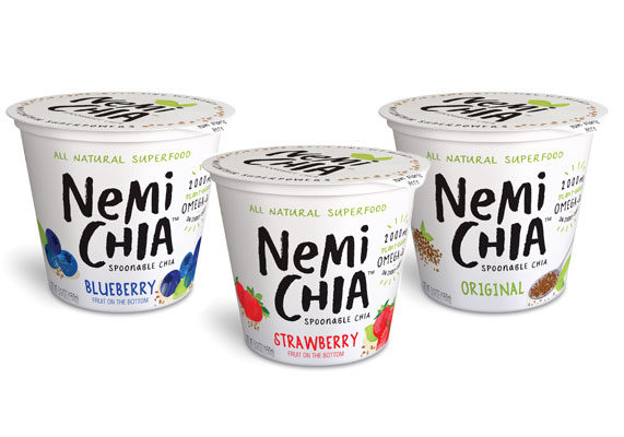 Nemi Chia, New York, manufacturers of a creamy, spoonable form of chia, highlights six key attributes of the seeds, including natural energy, heart health, fitness fuel, weight management, strong bones and illness prevention. Each nutrient-packed, single-serve cup contains chia seeds soaked in a special blend of almond and coconut milk. The namesake New York-based company developed the product to provide an energy boost for on-the-go consumers. The product comes in four varieties: blueberry, original, peach and strawberry. A 5.3-oz container provides 130 to 140 calories and 5 to 7 grams of fat, depending on variety, as well as 2 grams of protein.