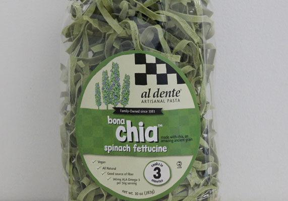 Al Dente Pasta Company produces a BonaChia line of dry noodles made with chia seed flour. The vegan-friendly line includes whole wheat fettuccine, fettucine, spinach fettucine and linguine varieties.