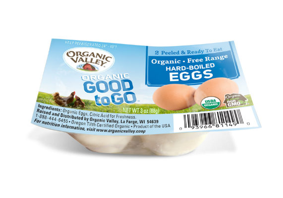 Good to Go Hard-Boiled Eggs is the most recent snack concept from Organic Valley, La Farge, Wis. Each single-serve pack contains two peeled, ready-to-eat organic, free-range eggs. The refrigerated snack comes in a convenient, easy-open pack with a suggested retail price of $1.99.  (1 of 6)