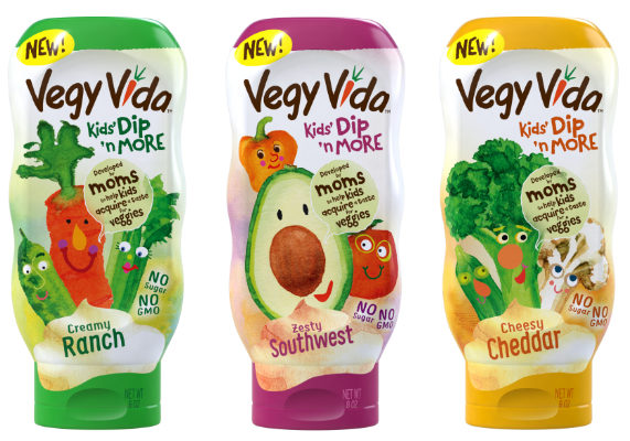 Cincinnati-based Vegy Vida manufactures refrigerated Greek yogurt-based squeezable condiments designed for young palates. Vegy Vida Kids' Dip 'n More comes in ranch, cheddar, bacon, zesty Southwest and cool Buffalo varieties. All offerings are sugar free. As the name implies, Vegy Vida is more than a dip, as it may be used as an ingredient in vegetable-focused recipes ranging from pasta salad to baked sides. The products are formulated with cucumber extract, which works to soften the bitter flavors of vegetables, said co-founder and food scientist Josh Young, who said that children have three times more taste buds than adults. This results in an over sensitivity to bitter taste, often making them picky eaters. (1 of 6)