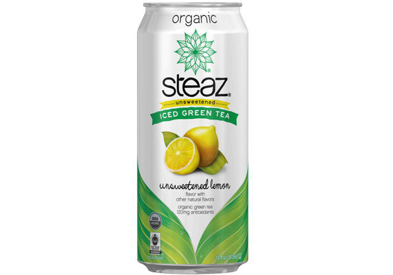 The R.T.D. tea category continues to grow, mostly from sales of high-end products such as Steaz organic green teas. The brand's most recent introduction is a line of unsweetened teas that contain no calories but lots of natural flavor (dragonfruit, lemon or passionfruit) and some fiber (4 grams per 16-ounce can) from inulin, which adds some calorie-free natural sweetness and mouthfeel. The green tea is a source of naturally occurring caffeine. (1 of 9)