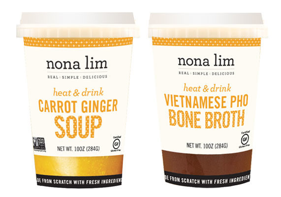 """San Francisco-based Nona Lim is introducing heat-and-eat soups and broths in individualized 10-oz. cups. Developed as an on-the-go pick-me-up, varieties include Vietnamese pho bone broth, carrot ginger soup, Thai curry and lime bone broth, zucchini soup, tomato soup, and miso ramen vegan broth. Drinkable soups and bone broths are gaining steam, founder Nona Lim told Food Business News. """"We thought it would be a good idea to empower them more with an easy-to-purchase, microwave-and-enjoy travel cup,"""" she said. """"With so many sugary or caffeine filled beverage options out there, savory beverages are a growing category more shoppers are warming up to every day."""""""
