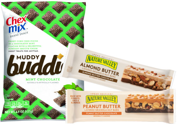 General Mills, Inc., is adding a new line of Nature Valley bars and a new Chex Mix Muddy Buddies variety to its snack arsenal. New Nature Valley Layered Bars feature layers of granola, nuts, chocolate and either almond butter or peanut butter. The bars contain 190 calories each.  New Chex Mix Mint Chocolate Muddy Buddies features corn Chex pieces in a chocolate mint coating with a smooth powder finish.  (1 of 12)