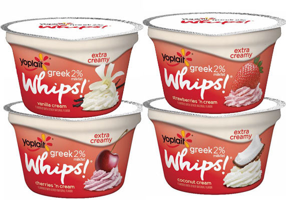 Made with 2% milkfat for a thicker, creamier texture, Yoplait Greek 2% Whips! yogurt comes in four flavors: vanilla cream, coconut cream, strawberries and cream, and cherries and cream. (1 of 10)