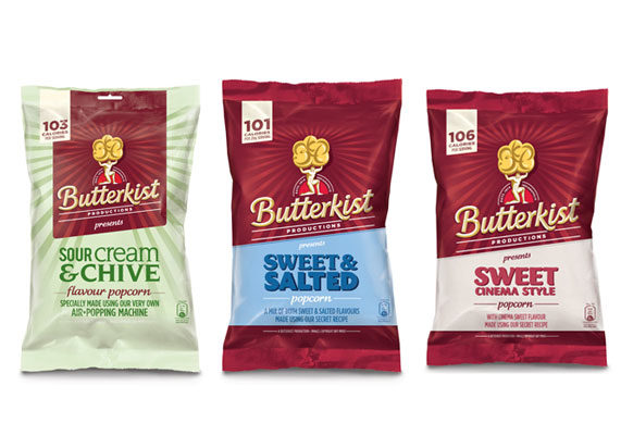 The Tangerine Confectionery company in Pontefract, United Kingdom,relaunched its Butterkist brandin 2012 with sweet and savory flavors that include Thai sweet chili, sour cream and chive, and limited-edition strawberries and cream.