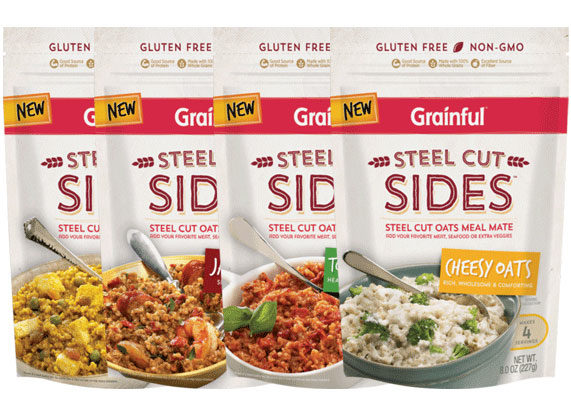 Grainful is bringing oatmeal to dinnertime with its new Steel Cut Sides, a line of savory meal mates made with steel cut oatmeal. The sides are certified gluten-free, non-bioengineered, and contain no preservatives, artificial colors of flavors. Available in 8-oz 4-serving pouches for around $4.99 to $5.99, Steel Cut Sides come in four varieties: Cheesy Oats, Tomato Risotto, Madras Curry, and Jambalaya.