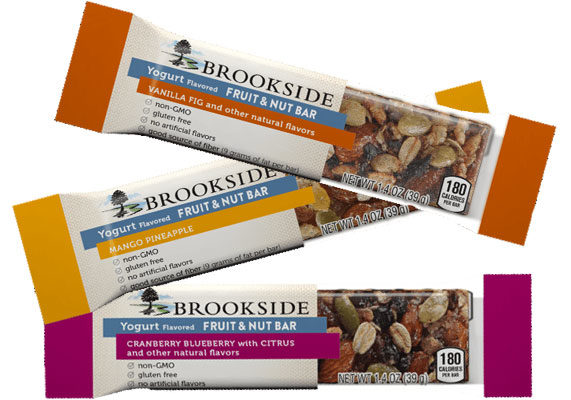 The Hershey Co. is expanding its Brookside line with new Brookside Yogurt Flavored Fruit & Nut Bars. The gluten-free bars contain no artificial flavors or bioengineered ingredients and are available in three flavors: cranberry blueberry with citrus, vanilla fig and mango pineapple. (1 of 11)
