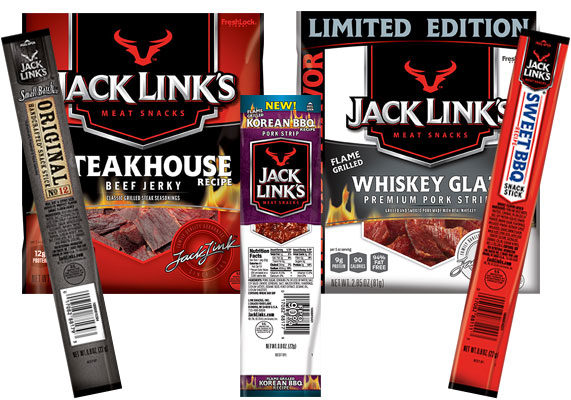 """Jack Link's is launching five new protein snacks: Flame-Grilled Steakhouse Beef Jerky, Limited Edition Flame-Grilled Whiskey Glaze Pork Strips, Flame-Grilled Korean BBQ Pork Strip, Sweet BBQ Stick and Small Batch Artisanal Stick.  """"Jack Link's is the portable protein for everyday adventures, and we want each bite to tell its own untamed flavor story,"""" said Tom Dixon, chief marketing officer at Jack Link's. """"We stay close to market and flavor trends, and with our rapid innovation capabilities and flame-grilled technology, we are able to quickly beef up our portfolio with new flavors, like whiskey, to help our fans fill their innate need to feed their wild sides."""" (1 of 13)"""