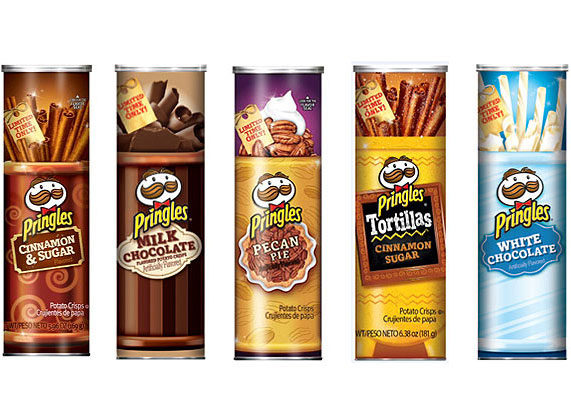 Kellogg is providing Pringles lovers with five new holiday flavors: salted caramel, white chocolate, tortilla cinnamon and sugar, pecan pie, and milk chocolate. (1 of 10)