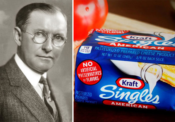 """In 1916,company founder James LewisKraft received a patent for making processed cheese, which involved continuously whisking cheddar heated at 175 degrees for 10 to 15 minutes. """"This invention relates to an improved process of sterilizing cheese to render it permanently keeping, and to the product thereby produced,"""" Mr. Kraft wrote in his patent, """"Process of Sterilizing Cheese and an Improved Product Produced by Such Process."""" Individually wrapped Kraft Singles came much later — in 1965."""