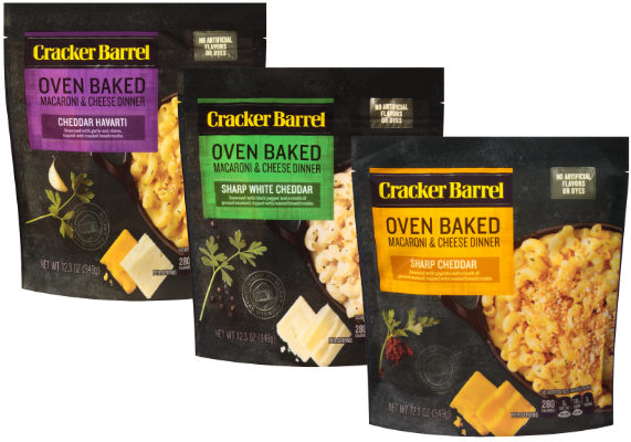 The Kraft Heinz Co. is debuting Cracker Barrel Oven Baked Macaroni and Cheese. Free of artificial flavors and dyes, the meal solutions contain large ridged noodles, seasonings, toasted breadcrumbs and Cracker Barrel cheese and are available in three varieties: Sharp Cheddar, Sharp White Cheddar and Cheddar Havarti. (1 of 15)