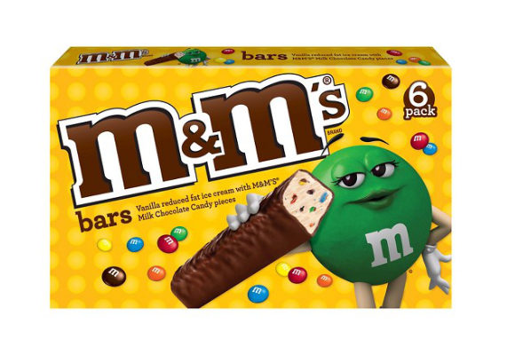 Mars, Inc. is debuting M&Ms Ice Cream Bars, featuring M&Ms milk chocolate candy pieces and reduced-fat vanilla ice cream surrounded by milk chocolate.  (1 of 12)