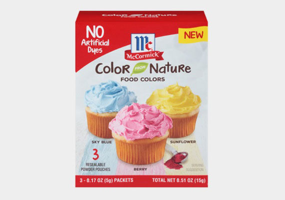 For consumers avoiding the artificial, McCormick is introducing Color from Nature Food Colors. The trio of resealable colors, Sky Blue, Berry and Sunflower, is made from natural ingredients such as plants, vegetables and seeds.  (1 of 10)