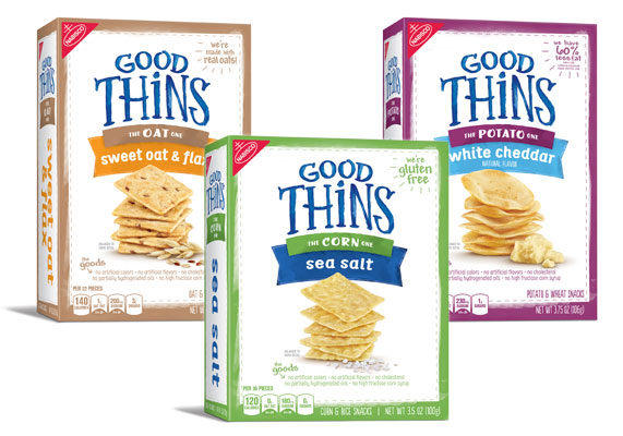 Mondelez International, Inc. is adding three new varieties to Good Thins product line: The Potato One! White Cheddar, The Oat One! Sweet Oat & Flax and The Corn One! Sea Salt. The snacks contain no artificial flavors, colors, cholesterol, partially hydrogenated oils or high-fructose corn syrup.  (1 of 10)