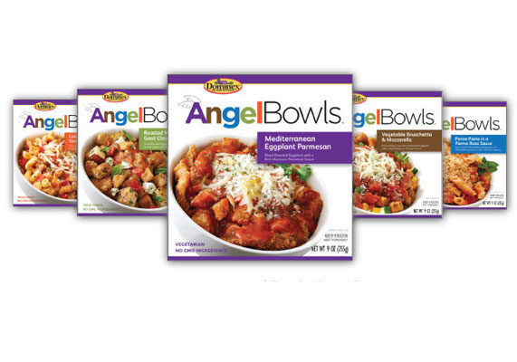 Dominex, a producer of eggplant products, is launching a line of frozen vegetarian entrees made with non-engineered ingredients. Packaged in eco-friendly bowls and recyclable outer cartons, AngelBowls are available in five varieties: Mediterranean eggplant parmesan, roasted vegetable and goat cheese gratin, vegetable bruschetta and mozzarella, penne pasta in parma rosa sauce and corkscrew pasta with creamy tomato vodka sauce.