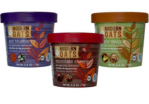 Modern Oats, a new line of gluten-free oatmeal from Innovative Beverage Concepts, Inc., is made with organic, non-bioengineered ingredients, including goji berries, hazelnuts, hemp seeds and cocoa nibs. Varieties include mango blackberry, chocolate cherry, nuts and seeds, apple walnut, five-berry and goji blueberry. Each cup has 6 to 8 grams of fiber and 8 to 9 grams of protein. The products are certified kosher and vegan.