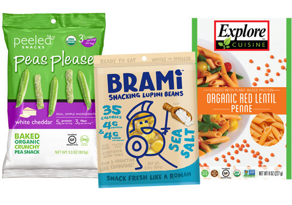 """Product developers are using peas, beans, lentils and chickpeas to create protein-rich and gluten-free snacks, pastas and more. """"While protein continues to see a strong demand, consumers are being more selective about the source,"""" said Jenna Blumenfeld, senior food editor at New Hope Network, in an interview with Food Business News before Expo West. """"There is increasing awareness that traditional protein sources like beef, pork, animal sources, chicken and the like use a tremendous amount of water and resources, so we're seeing bean-based protein rising."""" New pulse-based snack products include Peas Please white cheddar baked pea snacks from Peeled Snacks, Brooklyn; Skinny Dippers baked black and white bean-based chips from Austin, Texas-based Beanitos; and snacking lupini beans from Brami Beans, New York. Pulses pop up in new pasta products from Explore Cuisine, Red Bank, N.J., and Modern Table Meals, Walnut Creek, Calif. (1 of 9)"""
