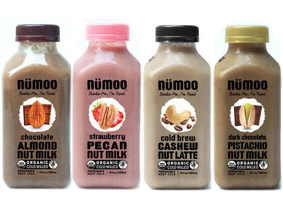 NuMoo Foods, L.L.C. makes U.S.D.A. certified organic and Non-GMO Project verified nut-milks, using a proprietary milling technique that uses the entire nut and creates zero waste. Packaged in ready-to-drink bottles, varieties include chocolate almond nut milk, cold-brew cashew nut latte, dark chocolate pistachio nut milk and strawberry pecan nut milk, among others. (1 of 8)