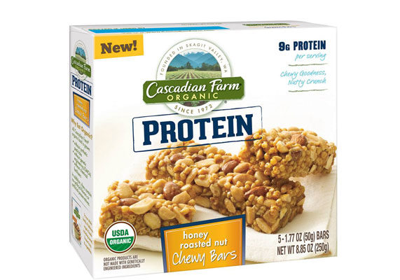 A new line of organic chewy granola bars from Cascadian Farm, a General Mills, Inc. brand, uses pea protein and includes 9 grams of protein per serving. Flavors include honey roasted nut and peanut butter chocolate chip.