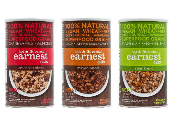Earnest Eats in March debuted granola bars and hot cereals, each made with a blend of whole oats, amaranth and quinoa. Earnest Eats Hot & Fit Cereal is available in multi-serve canisters and single-serve cups with three varieties: an Asian blend containing almonds, dried mango and matcha green tea; a Mayan blend with cocoa, pumpkin seeds, cashews and pepitas; and an American blend with cranberries, almonds, flax seeds and pepitas. Each single-serve cup contains 290 calories or fewer with 8 to 9 grams of protein and 6 to 7 grams of fat.
