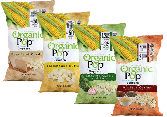 """Saratoga Chips is expanding further into the snack category with its new line of organic R.-T.-E. popcorn, OrganicPop. The U.S.D.A. Certified popcorn is Non-GMO Project verified, certified gluten-free, kosher and available in four varieties: Farmhouse Butter, Heartland Cheddar, roasted garlic and kale, and ancient grains, which is kettle-popped and includes black chia seeds, red quinoa and golden amaranth cooked in raw turbinado sugar.  """"OrganicPop was developed to satisfy two consumer driven trends in the snack food industry,"""" said Jim Schneider, president and managing partner of Saratoga Chips. """"It's no secret that both ready-to-eat popcorn and organic snack foods are both posting double digit growth in consumer research data, year over year. OrganicPop is a fusion of these two hot trends in one unique and innovative line-up."""" (1 of 10)"""