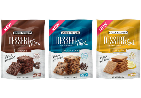 Snyder's-Lance, Inc.'s Snack Factory brand is debuting Dessert Thins, a new line of lightly textured, airy biscuits in dessert flavors. Made with non-G.M.O. ingredients, Dessert Thins contain 120 calories per serving and are free from trans-fat, cholesterol, artificial colors and artificial flavors. The snacks are available in brownie, chocolate chip and lemon tart varieties. (1 of 14)