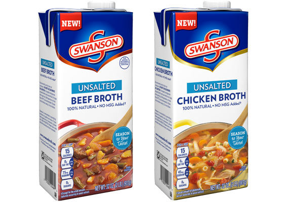 The Campbell Soup Co.'s Swanson brand is unveiling its new unsalted broths. Available in both chicken and beef varieties, the broths contain no M.S.G. and retail for about $2.79 per 32-oz carton. (1 of 11)