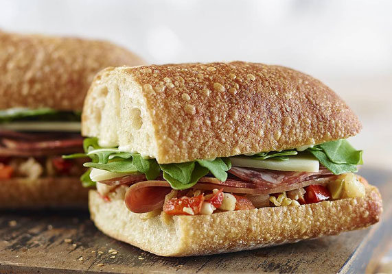 A new sandwich on Panera's menu, The Italian features smoked, lean ham, Chianti wine salami, spicy sopressa and provolone with spicy giardiniera, basil mayo and arugula on a hoagie roll. (1 of 13)