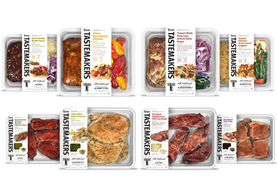 Tyson Foods is extending its Tastemakers platform to retail in May. The limited launch will include such items as citrus rum glazed chicken, cracked peppercorn flat iron steak, and soy ginger pork chops. (1 of 9)