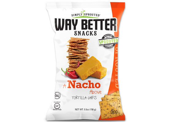 Way Better Snacks, a division of Live Better Brands, is launching a new variety of tortilla chips called A Nacho Above. Flavored with organic cheddar cheese and a blend of sea salt, onion, garlic, paprika and black and red pepper, the gluten-free chips feature sprouted chia, flax seed and quinoa. (1 of 12)