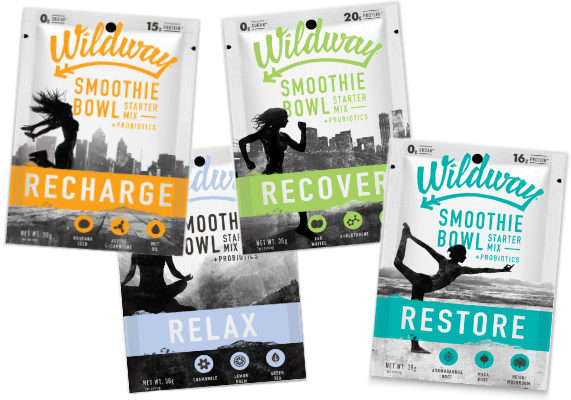 Wildway is launching a new line of functional smoothie beverages crafted with probiotics, plant-based adaptogens and herbs. The blends are free from whey, dairy, grain, gluten and soy and are flavor-neutral. Wildway Smoothie Bowl Starter Mixes are available in four varieties: Restore, Recover, Relax and Recharge. Each mix contains a blend of 15 to 20 grams of egg white protein, MCT oil powder, collagen peptides and blends of amino acids, functional herbs and plants and 1 billion CFUs of probiotics with the use of Bacillus coagulans GBI-30, 6086.  The Recharge mix contains 70 mg of caffeine from guarana seed and added acetyl L-carnitine, while the Relax mix contains chamomile, lemon balm and green tea. The Restore mix features ashwagandha root, maca root and reishi mushroom, and the Recover mix contains L-Glutamine and collage peptides.  (1 of 14)