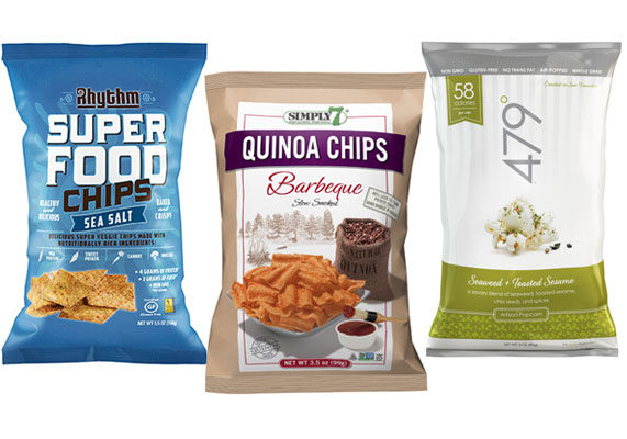 The traditional potato chip takes a backseat to adventurous flavors and better-for-you ingredients. Gluten-free and high in protein, Simply 7 Quinoa Chips are made without preservatives, artificial colors and flavors and bioengineered ingredients. Rhythm Superfood Chips contain non-bioengineered corn, pea protein and vegetables, with such flavors as jalapeno lime and barbecue. Toasted sesame and seaweed popcorn debuts from 479°, which also offers such artisan-inspired flavors as white cheddar and black truffle, toasted coconut caramel and farmers market herbs.
