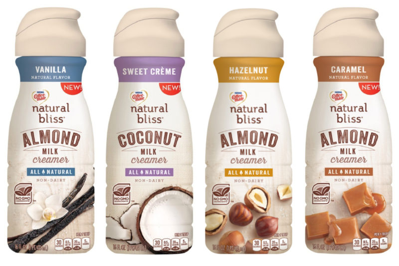 In January, Nestle's Häagen-Dazs brand launched Coffee-mate Natural Bliss plant-based coffee creamers in four varieties, including hazelnut almond milk, caramel almond milk, vanilla almond milk and sweet creme coconut milk. The non-G.M.O. creamers are made with simple ingredients such as almonds, coconuts from Sumatra, vanilla from Madagascar and pure cane sugar.