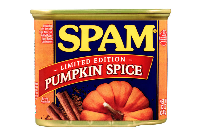 Hormel Foods Corp. is spicing up its Spam offerings with a limited-edition pumpkin spice flavor. The canned pork product is seasoned with cinnamon, clove, allspice and nutmeg.