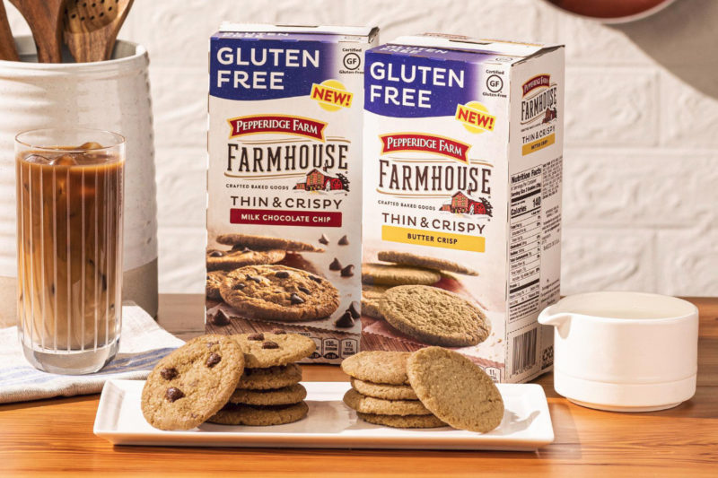 The Campbell Soup Co. is bringing its Pepperidge Farm brand into the gluten-free segment with the launch of gluten-free Farmhouse Thin & Crispy milk chocolate chip cookies and butter crisp cookies. Made with rice flour, the cookies contain 140 calories and 11 to 12 grams of sugar per 2-cookie serving. The treats will be available for a suggested retail price of $3.89.