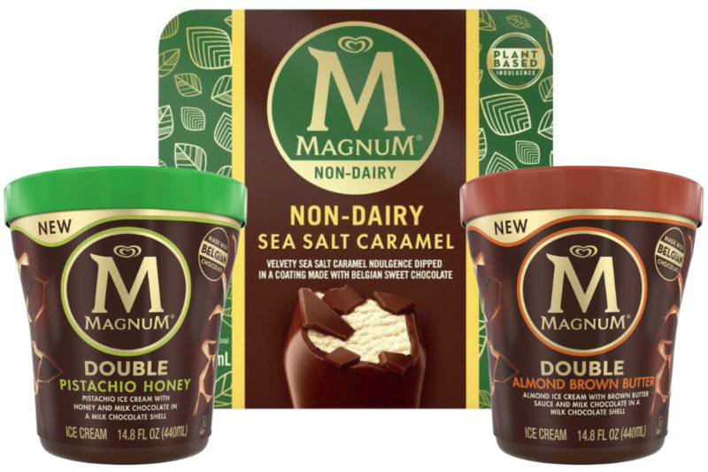 Unilever PLC's Magnum Ice Cream brand is adding a new flavor to its non-dairy bar lineup and two new tub varieties.  The Magnum Non-Dairy Sea Salt Caramel Bars feature a sea salt caramel base made with coconut oil and pea protein dipped in a cracking non-dairy chocolate shell. The plant-based bars are certified vegan and made with Rainforest Alliance Certified cocoa.  The new Magnum Double Almond Brown Butter tub includes almond ice cream with swirls of brown butter sauce and milk chocolate pieces in a cracking milk chocolate shell.  The Magnum Double Pistachio Honey tub features sweet pistachio ice cream with swirls of honey and milk chocolate pieces in a cracking milk chocolate shell.