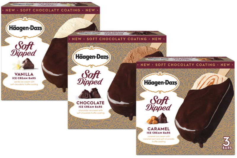 New from Nestle SA's Häagen-Dazs brand is a line of Soft Dipped Ice Cream Bars. Available in three varieties, the frozen desserts feature ice cream enrobed in a soft chocolate truffle coating.  The vanilla Soft Dipped Ice Cream Bar features vanilla ice cream covered in a soft chocolate truffle coating. Each bar contains 250 calories, 17 grams of sugar and 3 grams of protein.  The chocolate variety contains chocolate ice cream covered in a soft chocolate truffle coating. Each bar contains 260 calories, 18 grams of sugar and 4 grams of protein.  The caramel bar has caramel ice cream with a caramel swirl covered in a soft chocolate truffle coating. Each bar contains 270 calories, 20 grams of sugar and 3 grams of protein.  Häagen-Dazs Soft Dipped Ice Cream Bars are set to hit shelves in April for a suggested retail price of $4.49 per box of three bars.