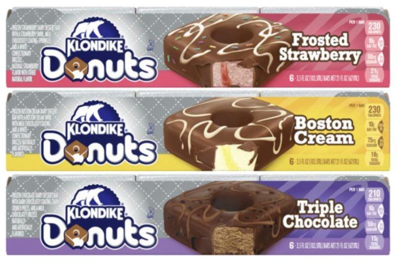 Unilever PLC is bringing donut flavors to its Klondike brand with the debut of Klondike Donuts. The chocolate-dipped ice cream bars feature a hole in the middle to mimic a donut and come in classic donut flavors.  The Boston Cream Klondike Donuts feature Boston cream flavored ice cream and sweet egg custard swirls glazed with a milk chocolate coating and topped with a white chocolate drizzle.  The Frosted Strawberry Klondike Donuts feature strawberry flavored ice cream with strawberry swirled filling frosted with a milk chocolate coating and topped with rainbow sprinkles and white chocolate drizzle.  The Triple Chocolate Klondike Donuts feature chocolate cake fried donut flavored ice cream covered with a dark chocolate coating, dark crunch pieces and a milk chocolate drizzle.