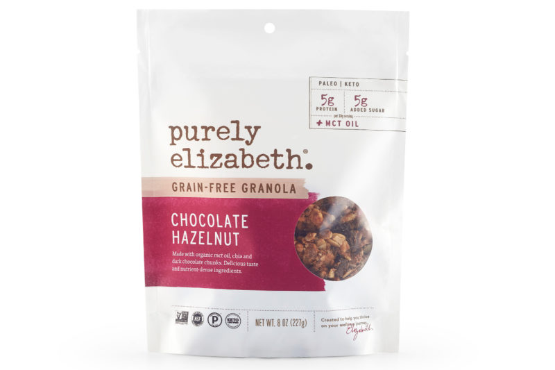 Purely Elizabeth is expanding its granola lineup with new Chocolate Hazelnut Grain-Free Granola with MCT oil. Certified paleo, keto, gluten-free and vegan, the Non-GMO Project verified granola is made with fair trade dark chocolate chunks, hazelnuts, pumpkin seeds and chia seeds plus organic MCT oil. Each 30-gram serving contains 5 grams of protein and 5 grams of sugar.